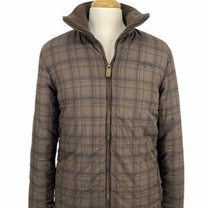 Billabong Men's Large Brown Plaid Puffer Quilted C